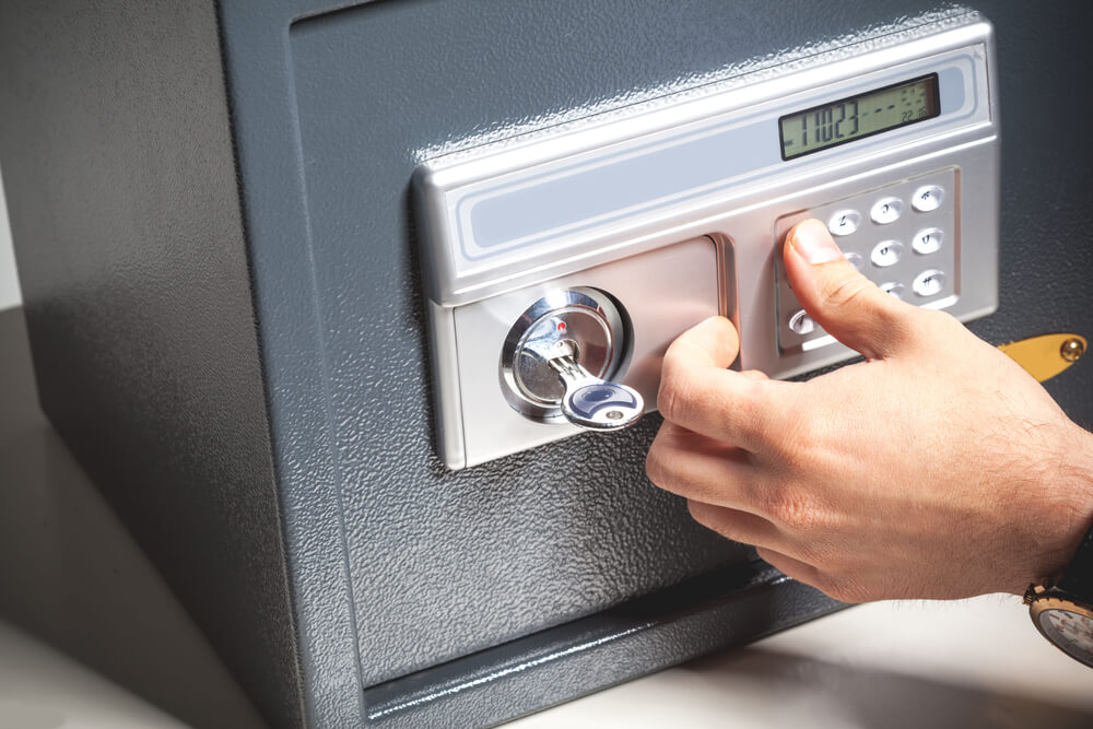 Opening a locked key-pad safe at our customer hotel in Miami FL