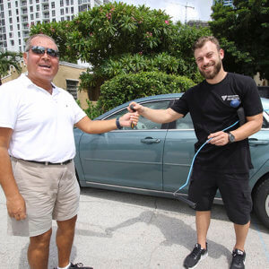 Happy Client After Providing Him Emergency Car Locksmith Services In Miami FL