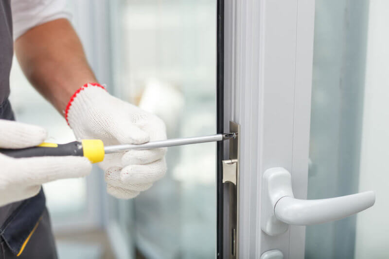 screwing and finishing brand new door installation including brand new high security lock