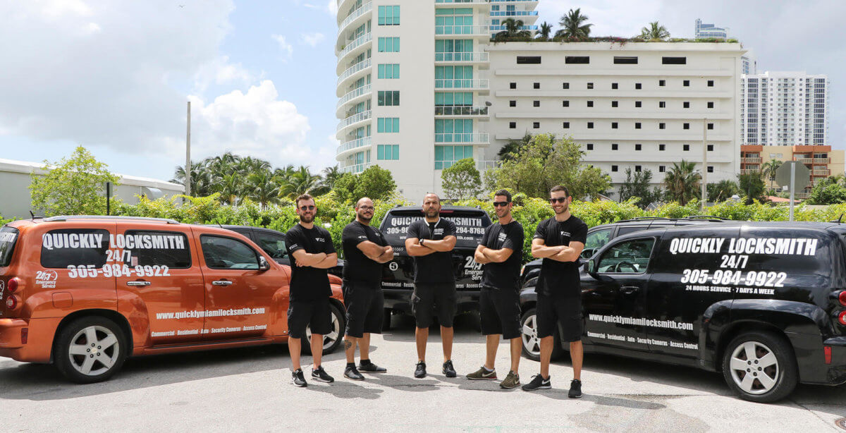 Our Team Of Locksmith technicians and their mobile locksmiths unit Gathering Together Before Going To Help Another Happy Customer