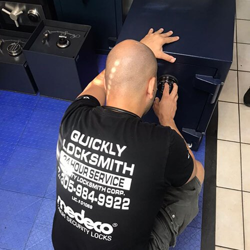 Our locksmith technician unlocks a stuck & locked old safe at a commercial clients business in Miami FL